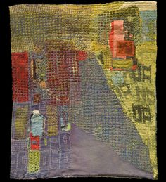 Judy Rush Silence 40'' H x 33'' W     Hand dyed and printed silk, cotton, lace cotton hankerchief, hand stitched.