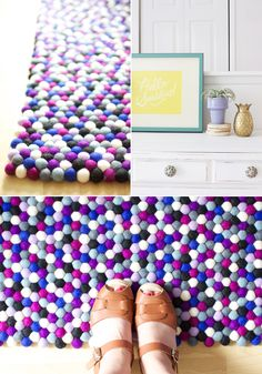 Felt ball rugs // At Home in Love