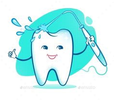 Buy Happy Tooth with Irrigator by Sonya_illustration on GraphicRiver. Vector illustration of happy cartoon tooth character with irrigator. Dental Health, Dental Care, My Tooth Fairy, Dental Photos, Dental Humor, Happy Cartoon, Free Vector Illustration, Healthy Teeth, Healthy Life