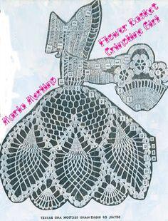 Crochet Living: Crinoline Lady with Basket of Posies! Crochet Butterfly Pattern, Crochet Applique Patterns Free, Doily Patterns, Embroidery Patterns, Free Pattern, Thread Crochet, Filet Crochet, Crochet Dolls, Crochet Yarn