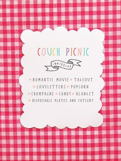 Valentines Day Crafts: DIY movie night in, aka Couch Picnic printable | via Eat Drink Chic