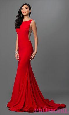 Image of floor length open back sleeveless dress Front Image