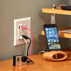 Besides the tangled mess they create, bulky chargers devour outlet space. For a clean solution, add a USB wall outlet at a more convenient height than a Types Of Electrical Wiring, Electrical Projects, Electrical Outlets, Electrical Cable, Ceiling Fan With Remote, Ceiling Fans, Junction Boxes, Hacks, Wall Outlets