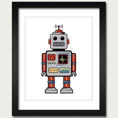 Robot Print / Robot Poster / Retro Robot 8x10 by happylandings. $10.00, via Etsy.