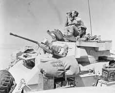 BRITISH ARMY NORTH AFRICA 1942 (E 15509)   A Humber Mk II armoured car of 4th Light Armoured Brigade (formerly 4th Armoured Brigade) on patrol in the Western Desert, 10 August 1942.
