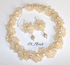 Christmas gift Seed Bead Necklace and Earrings Ogalala by OlBeads