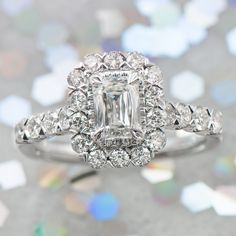 For the glamorous bride looking for a unique ring, the Crisscut diamond adds more brilliance to a traditional emerald cut. #helzberg #engagement #wedding
