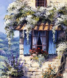 Reint Withaar: Window II Keilrahmen-Bild Leinwand Fenster Idylle Romantik - All together (decoupage, prints, vintage) - Canvas Frame, Canvas Art, Cottage Art, Art Pictures, Photos, Beautiful Paintings, Painting Inspiration, Home Art, Landscape Paintings