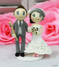 Wedding cake topper Baseball player groom clay doll by AsiaWorld, $78.50