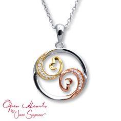 Open Hearts Necklace 1/20 ct tw Diamonds 10K Tri-Tone Gold