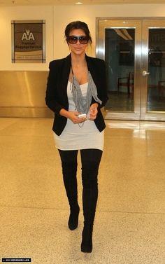 Kim Kardashian wearing Louis Vuitton Evidence Sunglasses Christian Louboutin Monica Over The Knee Boots. Kim Kardashian Arriving in Miami September 26 2010. ...