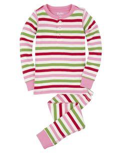 Pink Holiday Stripes Henley Pajamas