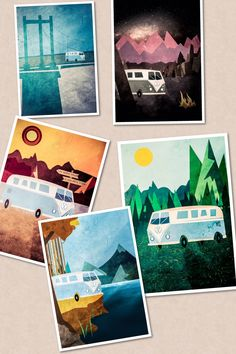 Some incredible designs of a day in the life of a campervan by Liam Edwards a graphic designer.