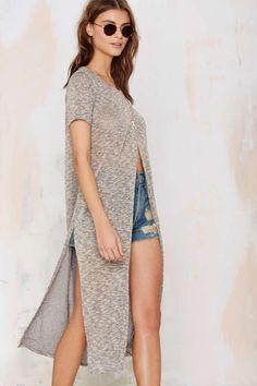 Knit Maxi Tee - Heather Gray