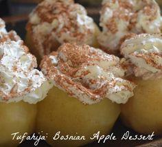 Tufahija Bosnian Dessert Recipe- popular during Eid, to end fast of Ramadan. Read Recipe by kidworldcitizen Apple Desserts, Healthy Desserts, Healthy Recipes, Bosnian Recipes, Bosnian Food, Croatian Recipes, Dessert Bars, Dessert Recipes, Easy Cooking