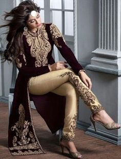 446425 Red and Maroon color family Party Wear Salwar Kameez in Velvet fabric with Machine Embroidery, Patch work .love this look Bollywood Fashion, Hijab Fashion, Fashion Dresses, Bollywood Saree, Fashion Styles, Indian Attire, Indian Wear, Indian Suits Punjabi, Punjabi Suits Party Wear
