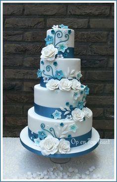 Turquoise Ribbons, White Roses