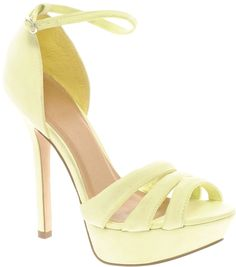 ASOS HOORAY Platform Heeled Sandals at ASOS. Shoe Boots, Shoes Heels, Heeled Sandals, Shoe Bag, Mustard Shoes, Zara, Yellow Shoes, Platform High Heels, Nike