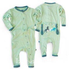 Kickee Pants Infant Boys Aloe Wild Horses Appliqué Coverall