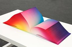 The RGB Colorspace Atlas, by Tauba Auerbach. In three x cubes, Auerbach showcases all the colors in existence and the entire RGB gradient. Each book is a different printed RGB scheme. The cloth cover and page edges were airbrushed by the artist. Gradient Image, Colour Gradient, Pastel Gradient, Tauba Auerbach, Photoshop, Book Design Layout, Design Graphique, Book Binding, Editorial Design
