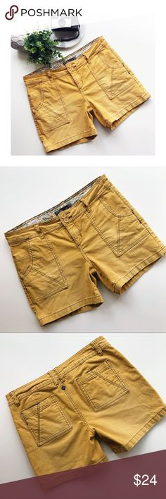 """Prana Mustard Yellow Corduroy Shorts Prana mustard yellow corduroy shorts. Hiking, walking or everyday style!  No flaws, gently pre-owned.  Size 10 Waist, side to side across the back waistband: 16"""" Rise: 9"""" Inseam: 5"""" Inventory EE16 Prana Shorts"""