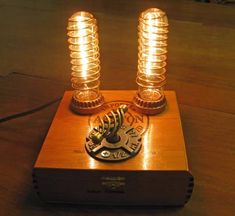 Got a couple of 60 watt bulbs laying around? Attach 'em to an old #cigar box to create a cool, retro lamp!
