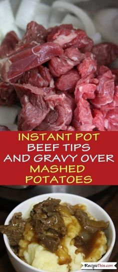 Instant Pot Beef Tips And Gravy Over Mashed Potatoes. This beef tips, mash and gravy recipe is one of my favourites and so easy to make in the Instant Pot Pressure Cooker. You could make it even cheaper by using a cheaper cut of beef too. Crock Pot Recipes, Beef Tip Recipes, Potato Recipes, Slow Cooker Recipes, Cooking Recipes, Healthy Recipes, Recipe Tips, Recipes For Pressure Cooker, Crock Pot Beef