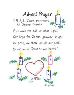 Cute Advent prayer/poem to help students count the weeks until Christmas. Includes a guide to teach gestures to go along with the prayer. Advent Art Projects, Advent Ideas, 2 Advent, Advent 2016, Advent Prayers Catholic, Catholic Kids, Catholic School, Preschool Christmas, Christmas Activities