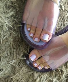 Pretty Toe Nails, Cute Toe Nails, Pretty Toes, Nice Toes, French Pedicure, Clear Heels, Sexy Toes, Female Feet, Women's Feet