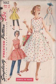 MOMSPatterns Vintage Sewing Patterns - Simplicity 1662 Vintage 50's Sewing Pattern CAPTIVATING Rockabilly Lucy, Mad Men Wrap Around Circular Skirt Sundress, Tie On Sun Dress, Wrap Apron Top, Hostess Aprons
