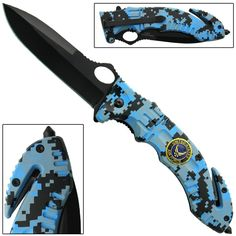 Featuring a distinct blue digital camo finish on a sturdy and durable ABS handle, this deluxe tactical spring assist knife sports a 3.5 inch drop point blade that is razor sharp with a powder coated black finish. #serveandprotectspringassistedknifebigblue