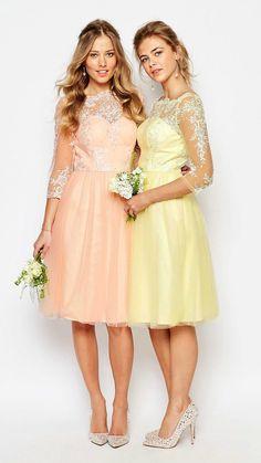 Sweet bridesmaid dresses with sheer sleeves