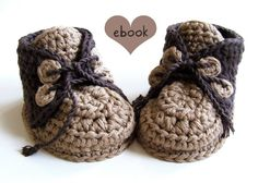 Instant Download - Crochet Pattern - Brownie Baby Booties - PDF ebook No. 13 via Etsy