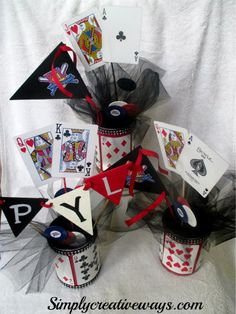 When I began making these Casino Center pieces my goal was to make a fabulous centerpiece for as little money as possible.  So as always, the first thing I do was head to my craft supplies to see if anything would fit my casino theme.  I was in luck, IRead the Rest...