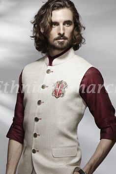 BASE CHORUS - These sorts of vests (minus the lapel) can work really well. Done up like this or left open. Look at the neck detail and the formality of the buttons Ethnic Wear Indian Men, Indian Groom Wear, Indian Wedding Wear, Nigerian Men Fashion, Indian Men Fashion, Col Mandarin, Modi Jacket, Mens Designer Shirts, Wedding Sherwani