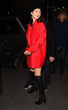 Bella Hadid from The Big Picture: Today's Hot Photos  Lady in red! The model is beaming in Paris.