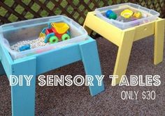 DIY Sensory Tables  - one for bonus room, one for outside - christmas/bday gift for Mag