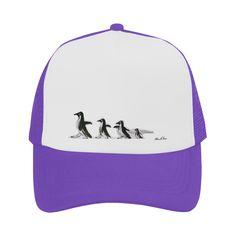 Penguin Family Walk on Thin Ice Ultraviolet Purple by ANoelleJay Trucker Hat  @anoellejay @artsadd Fashion gifts for teens and friends!