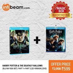 Harry Potter & The Deathly Hallows Part 1 & 2 Blu Ray DVD Box Set at Lowest Rate from Infibeam's Magic Box !  Assuring Lowest Price in Magic Box Deals !   HURRY OFFER VALID FOR TODAY ONLY !!  #MagicBox #Deals #DealOfTheDay #Offer #Discount #LowestRates Harry Potter #TheDeathlyHallows #HarryPotter #DVD #BluRay #Movie #Entertainment