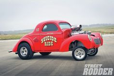Chuck Comer, 55, was turned onto Willys Gassers as a kid when the bubblegum package he just opened had a photo of John Mazmanian's Willys in it. He was hooked at 15. In 1977, just after high school, he found the body of his 1940 Willys at the end of a dead-end road. After contacting the owner, he paid $150 for it, and that was without a firewall or decklid. After getting the car up and running a neighbor told him he believed he used to race the car throughout Texas, Missouri, and Kansas, ...