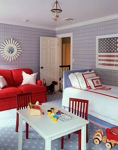 red white and blue kids room with stars and stripes