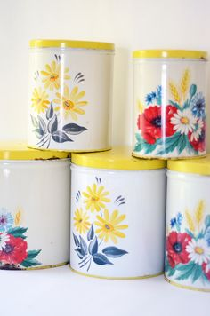 Five Vintage Metal Canisters #floral #retro #storage