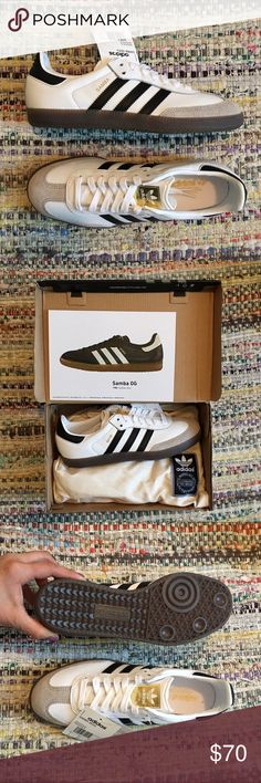 """New Adidas Samba OG shoes New Adidas Samba OG shoes Never worn, new in box with tags.  Sole measures 10.25"""" heel to toe. Men's size 6, women's size 8, Euro size 38 2/3 Adidas Shoes Sneakers"""