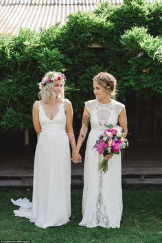 These two brides opted for a Colourful Garden Party Wedding to celebrate their same-sex marriage just outside of Melbourne. Lgbt Wedding, Wedding Attire, Wedding Couples, Wedding Dresses, Lesbian Wedding Photos, Lesbian Couples, Garden Party Wedding, Summer Wedding, Dream Wedding