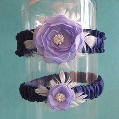 Bridal garter  Lavender Feather Rose Wedding Garter by HARTfeltart, $39.99