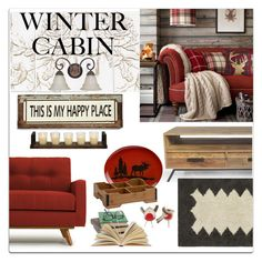 """Winter Cabin"" by defineyourstyle ❤ liked on Polyvore featuring interior, interiors, interior design, home, home decor, interior decorating, Thrive, Palecek, Poncho & Goldstein and Maxim"
