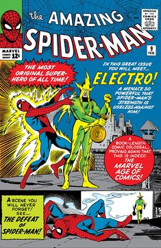 Debut and origin of Electro, one of the greatest comic book villains in Marvel Comics. Old Comic Books, Vintage Comic Books, Marvel Comic Books, Vintage Comics, Comic Book Covers, Amazing Spider Man Comic, Amazing Spiderman, Dc Universe, Comic Book Villains