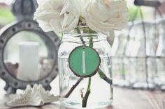 things brides love Mason Jar wedding reception decor centerpieces chalkboard table numbers #masonjars #masonjarcraftslove