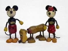 Original 1930's Fun-e-Flex of Mickey Mouse, Minnie Mouse, & Pluto. Musse Pigg, Mimmi Pigg & Pluto 1930-tal. Samla Leksaker / Collect Toys Walt Disney Disneyana