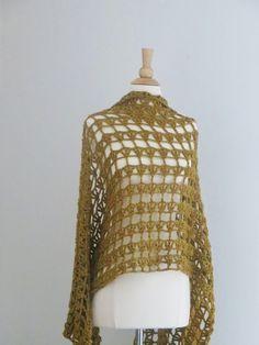 Golden Lacy Crochet Shawl